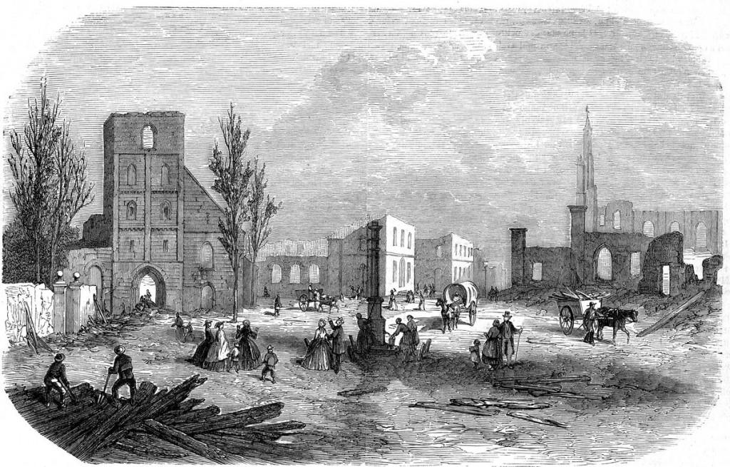 De markt te Enschede, na den brand van 7 mei 1862, teekening van C.C.A. Last.