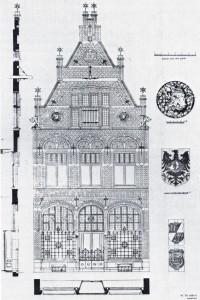 11 Fotolitho van het pand Lange Bisschopstraat 71 uit 1899, naar ontwerp van Wolter te Riele Uit: De Architect, 1899.