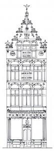 7 Detail van bouwtekening voor pand Brink 103 door Wolter te Riele (coll. G.A.D., tekening auteur).